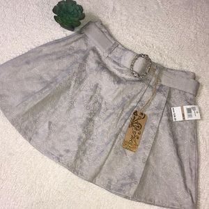 NWT RAMPAGE big girls silver grey pleated belted